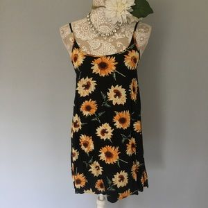 Kimchi Blue // Black Sunflower Slip Dress S
